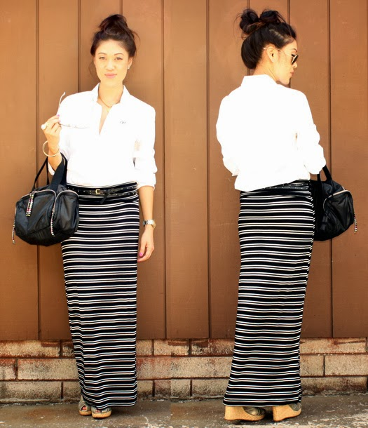 Oomph. style me. striped maxi skirt.