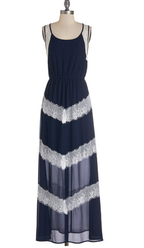 Navy maxi dress with white lace details and chevrons, from Modcloth