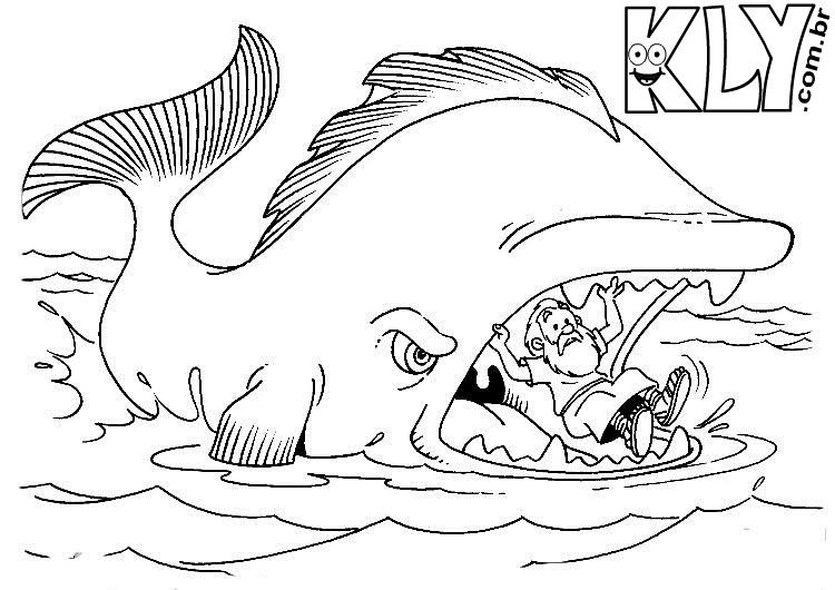 desenho de jonas dentro da boca do peixe para colorir desenhos
