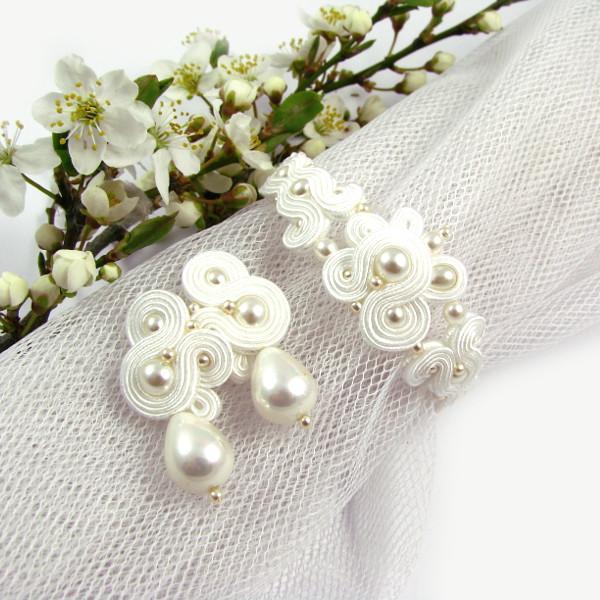Delikatny komplet ślubny sutasz z perłami
