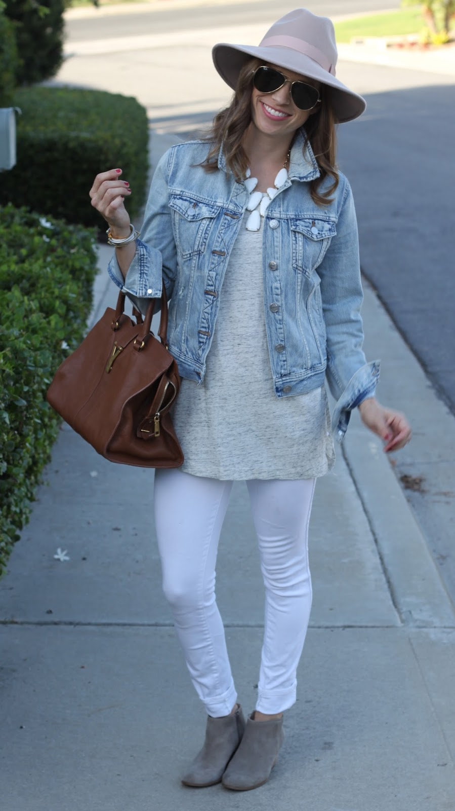 white jeans and booties