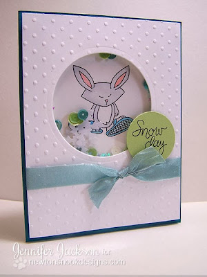 Snowy Shaker Card using Snow Day Stamp set by Newton's Nook Designs.
