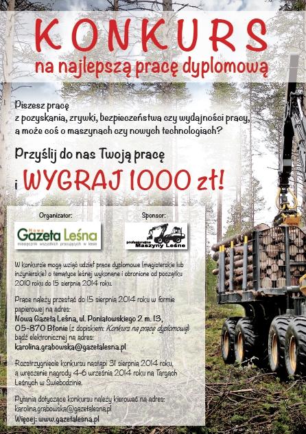 Plakat reklamowy konkursu na najlepszą pracę dyplomową o tematyce leśnej