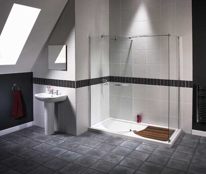 Trend homes walk in shower modern design for Modern bathroom tile designs pictures