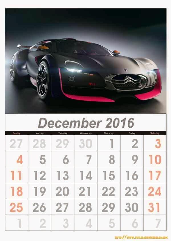 calendario de carros mes de diciembre año 2016 listos para imprimir