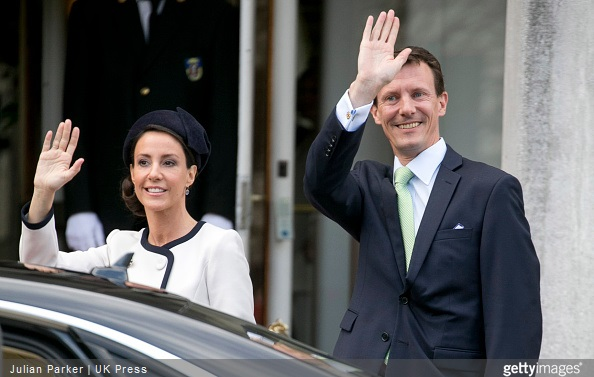 Princess Marie, and Prince Joachim of Denmark, attend a Lunch reception to mark the forthcoming 75th Birthday of Queen Margrethe II of Denmark. at Aarhus City Hall