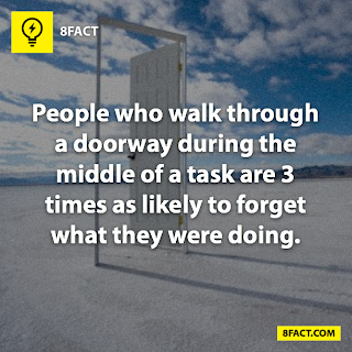 fact,People who walk through a doorway during the middle of a task are 3 times as likely to forget what they were doing.