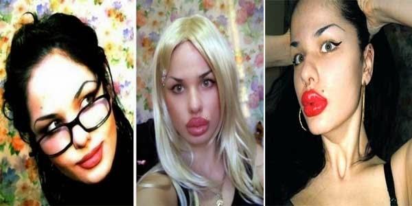 Kristina Rei wanita dengan bentuk fisik teraneh di dunia pemilik bibir tertebal