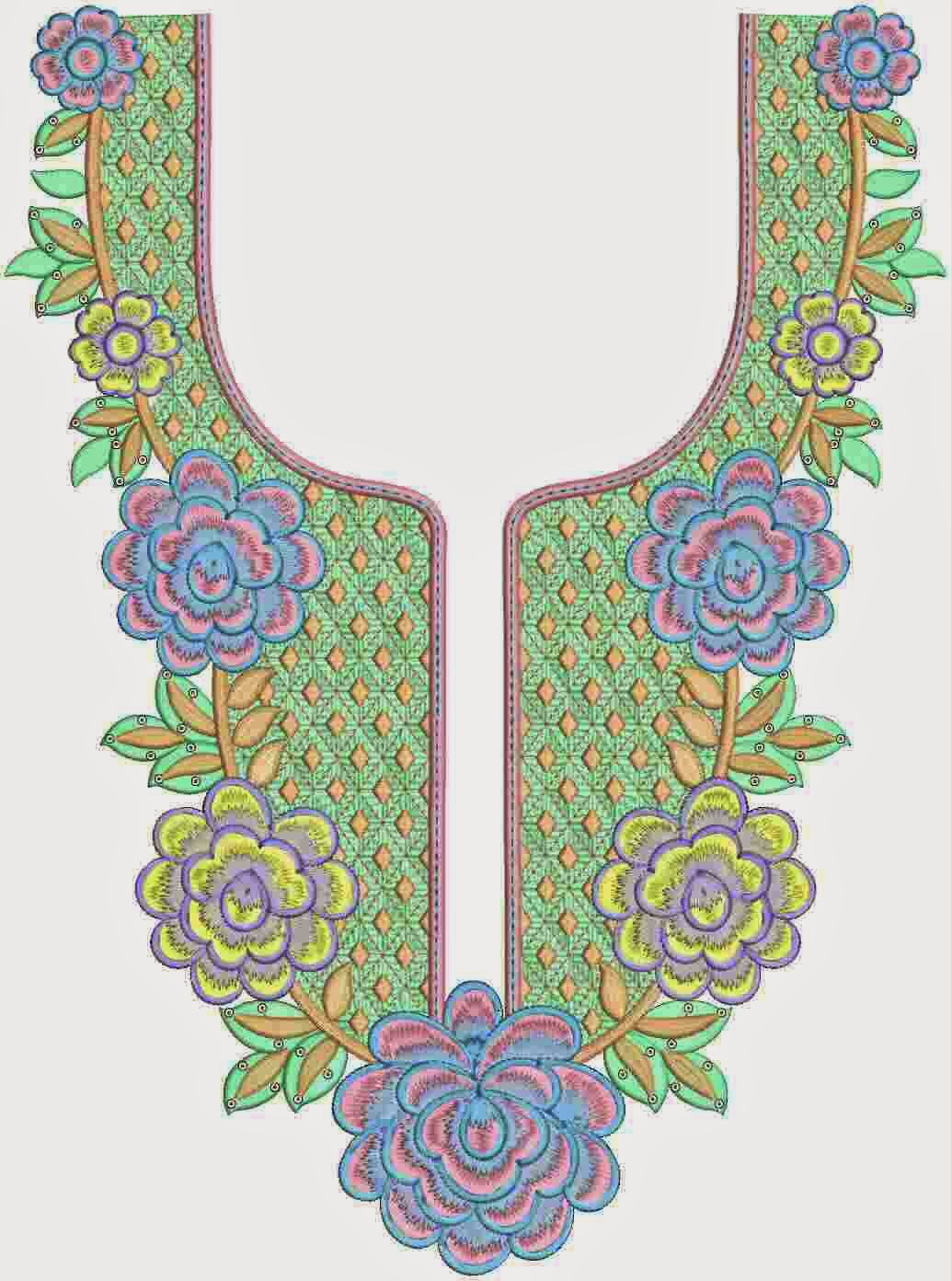 Embdesigntube religious clothing neck embroidery designs Fashion embroidery designs