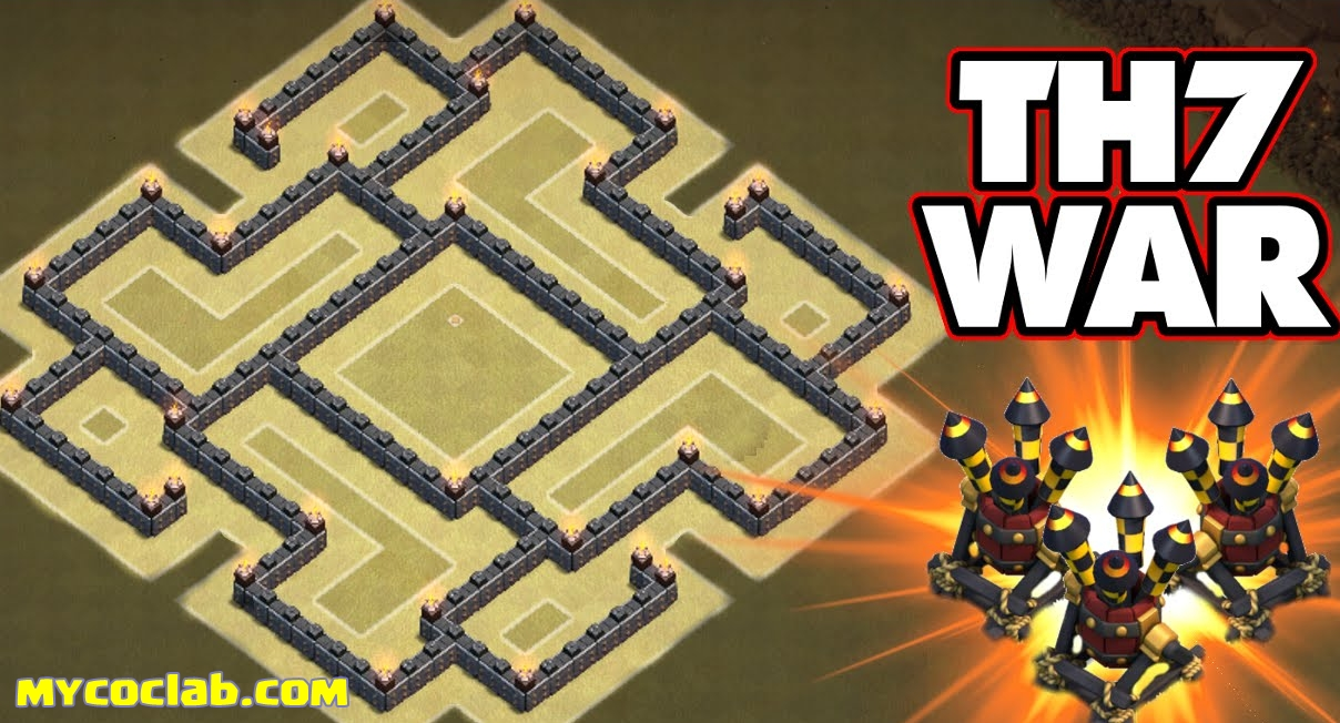 Clans general tony th7 war base layout screenshot without building