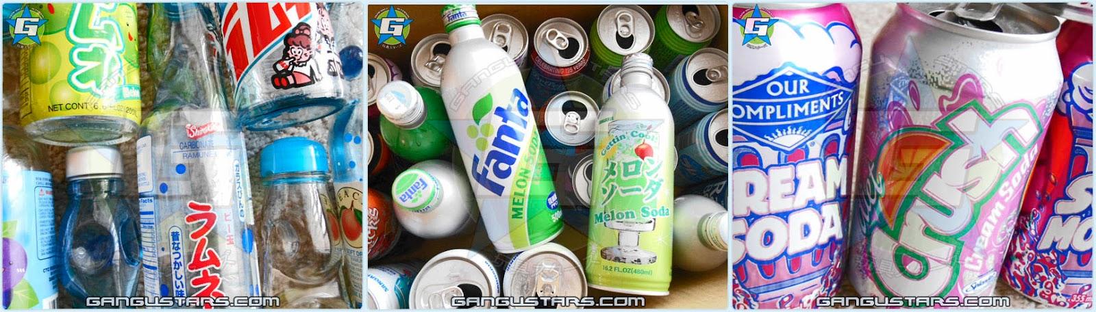 Japanese Ramune soda bottles Creme Soda vanila Fanta soda melon creme Japan