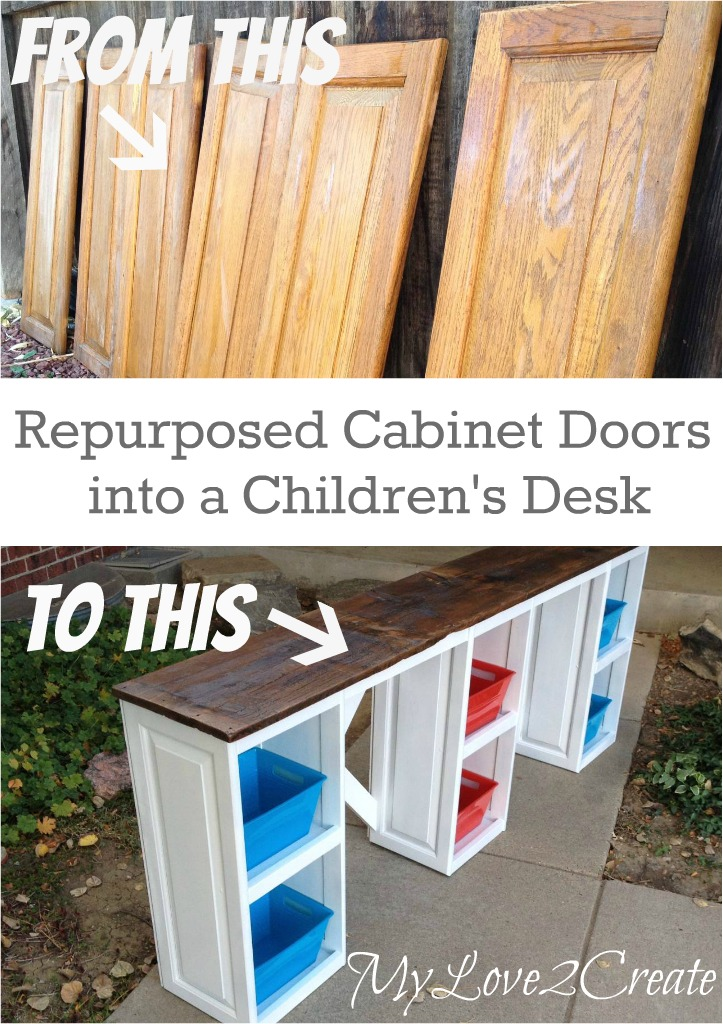 Cabinet doors into children 39 s desk my love 2 create for How to turn an old door into a table