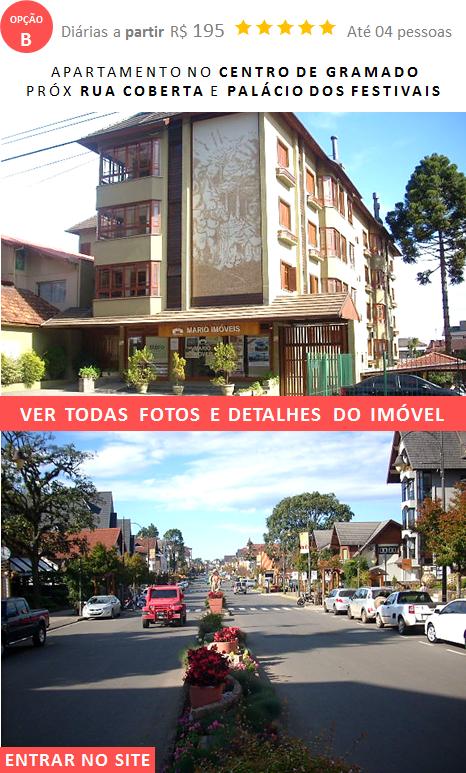 Apartamento Alugar Gramado no centro ao lado do Palácio Festivais Cinema e Rua Coberta em Gramado