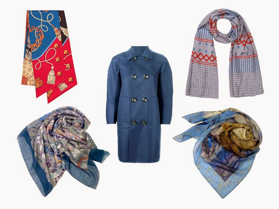 blue coat with four different complementary scarves