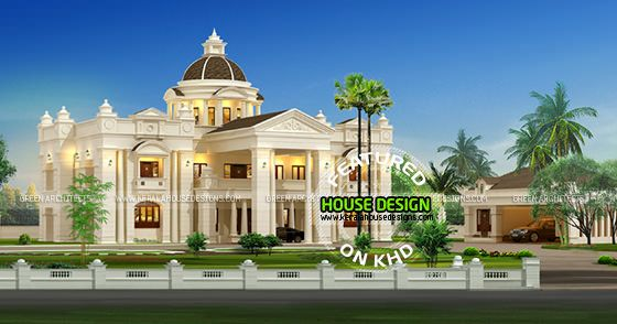 Luxurious mansion home in kerala kerala home design and for Mansion house design