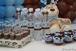 festa infantil decoracao urso marrom e azul
