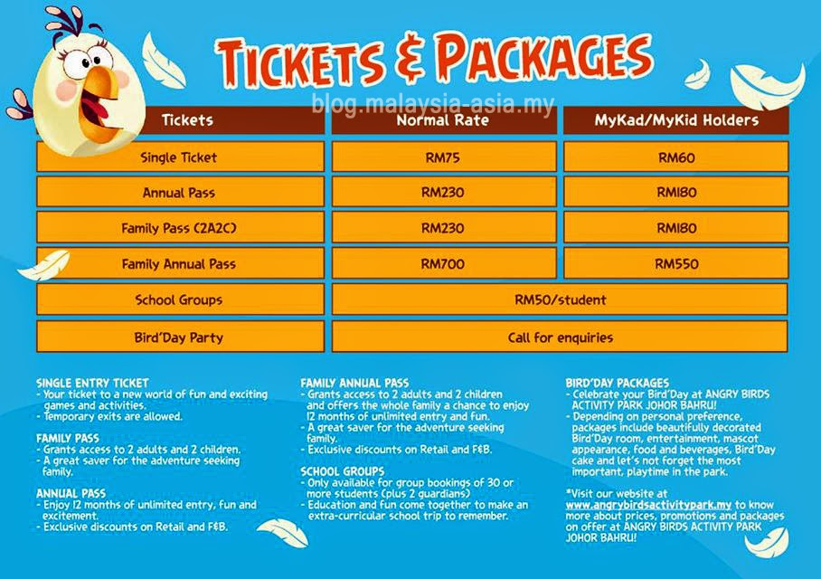 Angry Bird Park Johor Ticket Prices