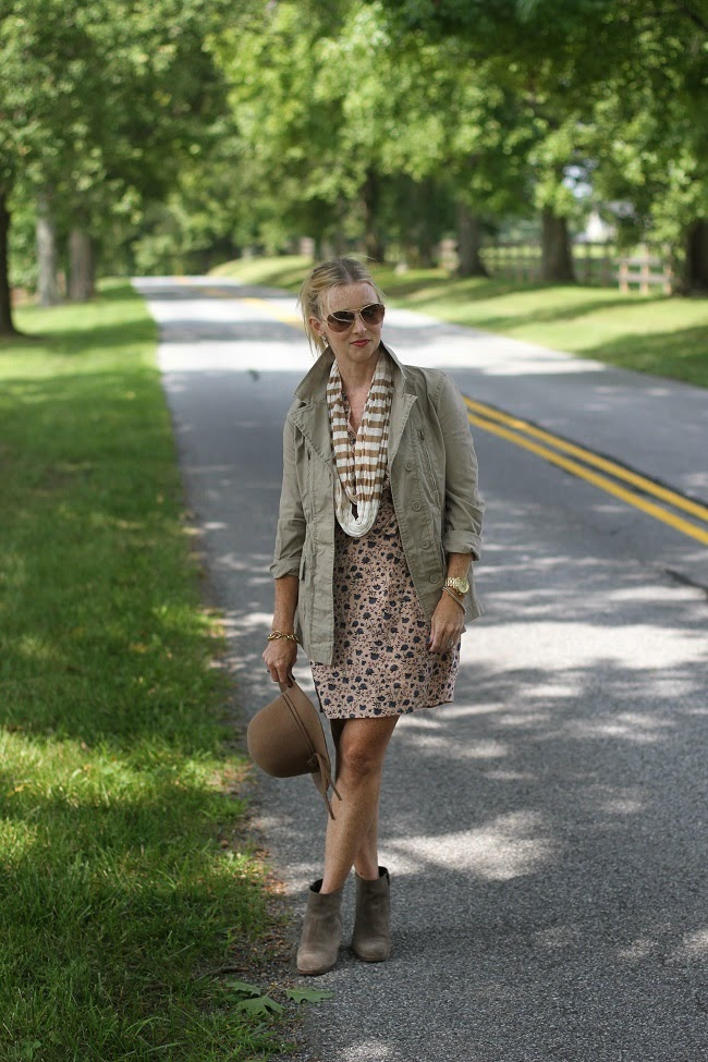 ray ban aviators, loft floral dress, old navy utility jacket, jcrew booties, nordstrom hat