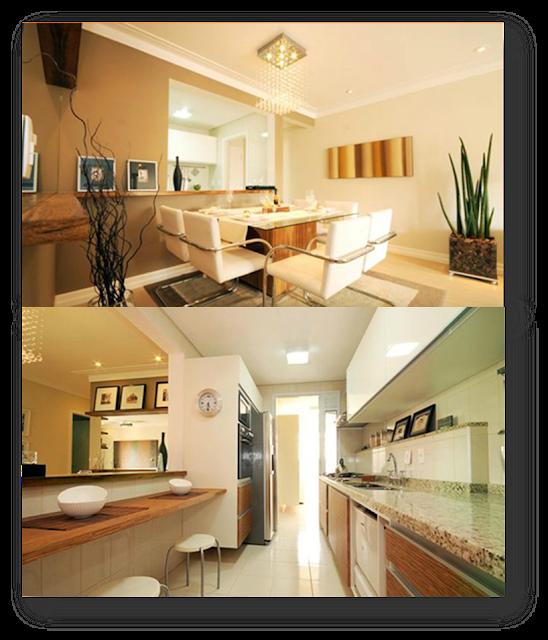 decoracao cozinha tradicional: cozinha próxima à entrada da casa e apenas uma parede divide a