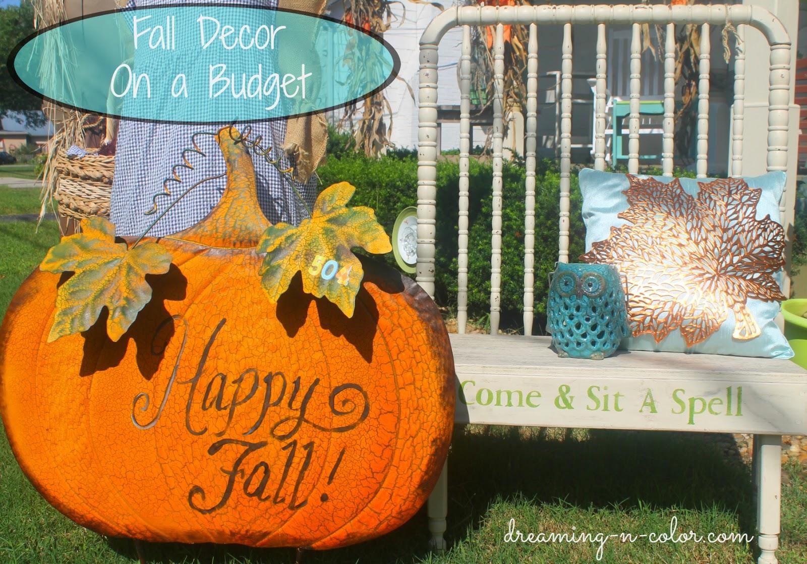 dreamingincolor outdoor fall decor on a budget. Black Bedroom Furniture Sets. Home Design Ideas
