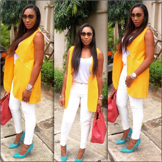 Ebube Nwagbo Wows In Colour Block Outfit