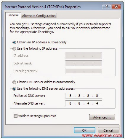 Google Public DNS : How to Use in Windows