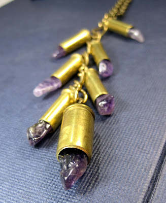 Cascade Style Amethyst Bullet Necklace