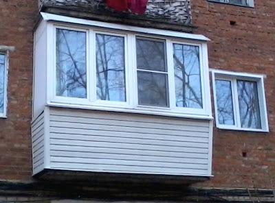 Остекление балкона профилем ПВХ с выносом