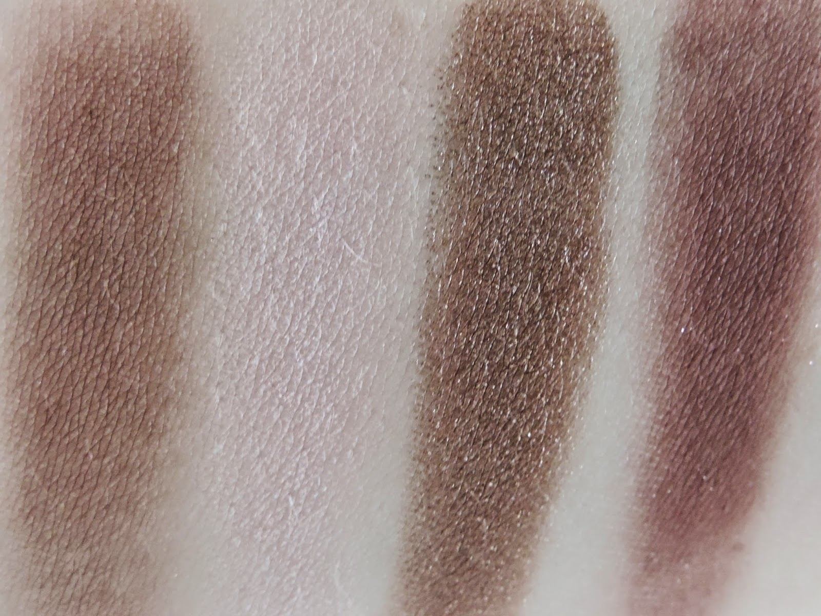 Swatches (from left) Semi-Sweet, Strawberry Bon Bon, Haute Chocolate, Cherry Cordial