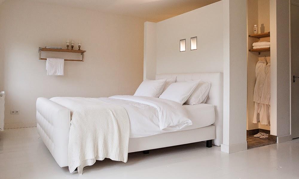 Binnenkant slaapkamer badkamer samen in een ruimte - Slaapkamer met kleedkamer en badkamer ...