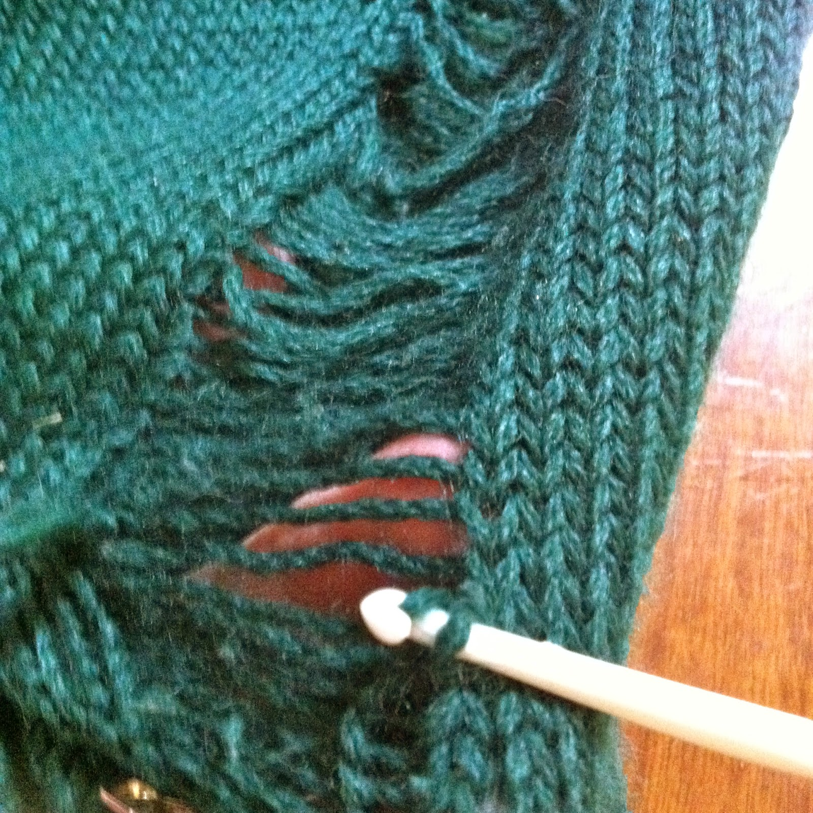 Knitting Hook Broken Age : Fashioned by lyndell mending an hand knit