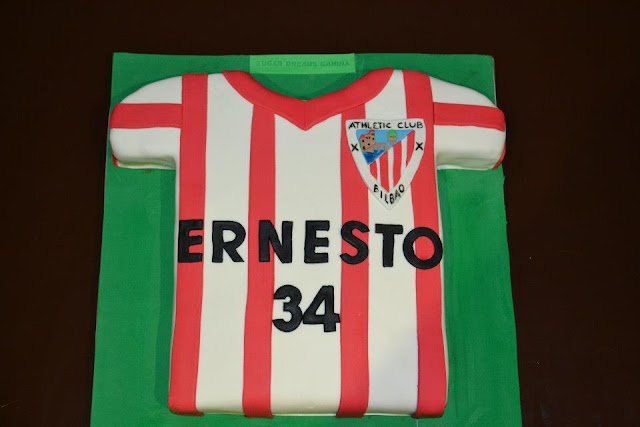 Tarta Camiseta Futbol Athletic Club Bilbao fondant Sugar Dreams Gandia