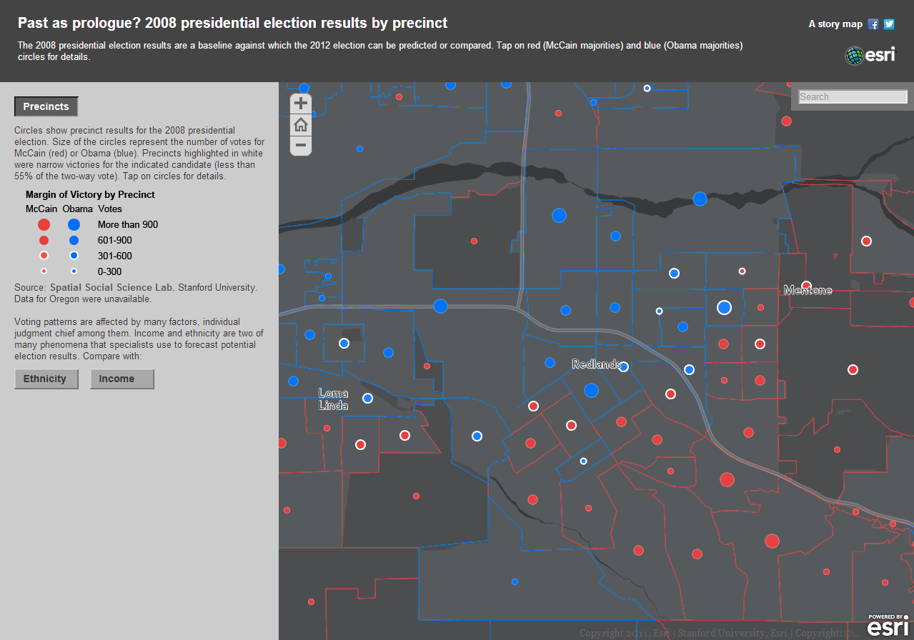 image of the interactive online map of the 2008 presidential election results by precinct