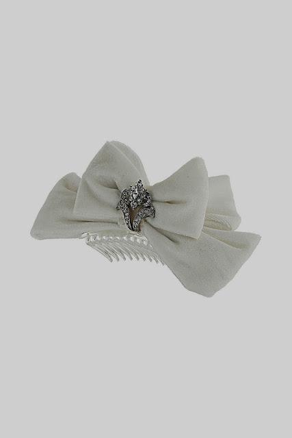 velvet bow, bride hair comb
