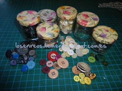 Tarros de cristal decorados con decoupage