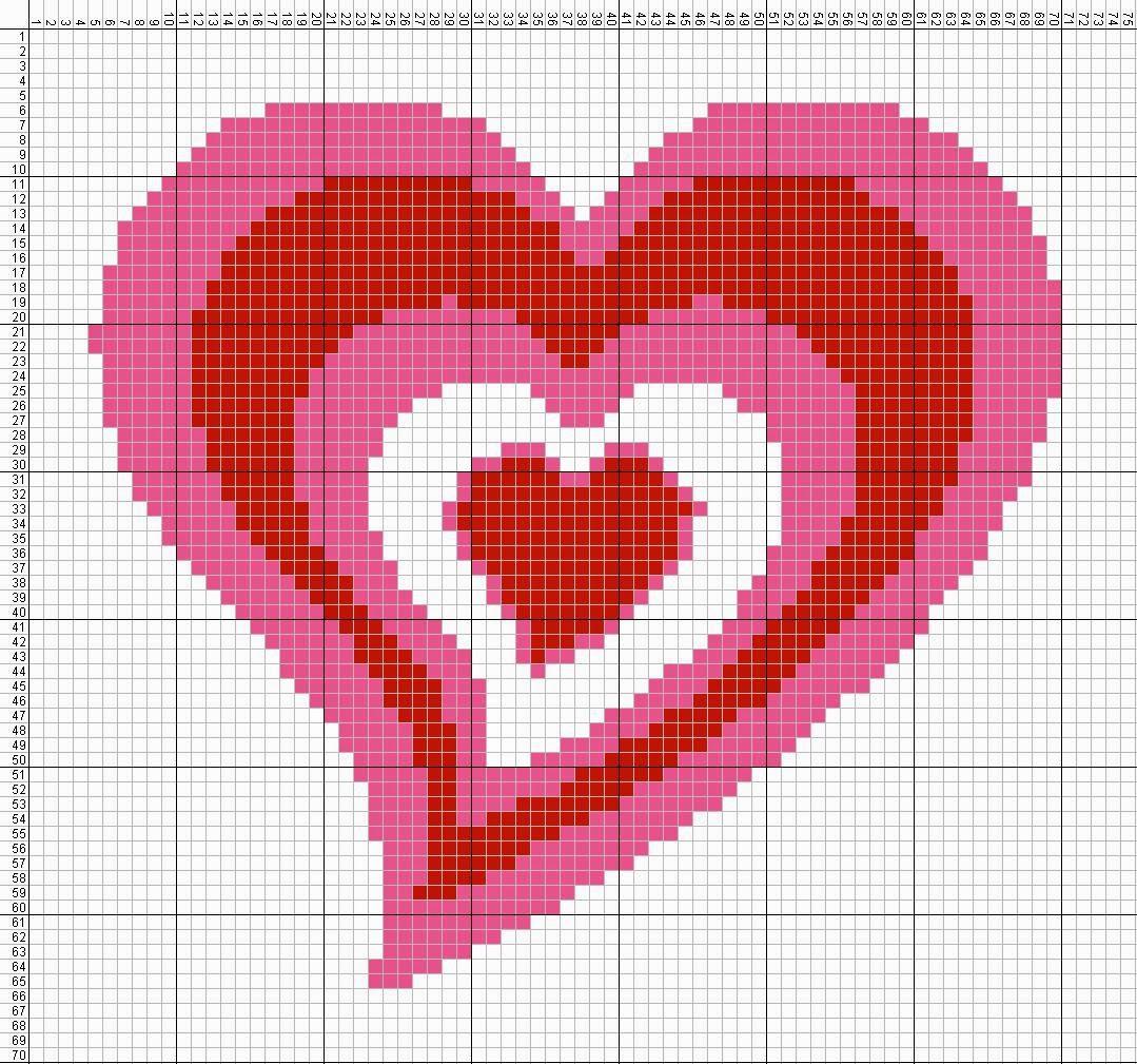Gambar Pola Kristik Sederhana Tanda Cinta - Hati (1)
