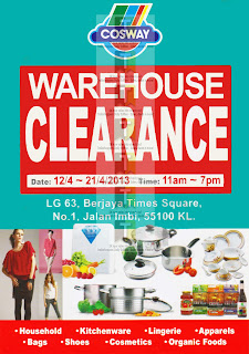 Cosway Warehouse Clearance Sale 2013