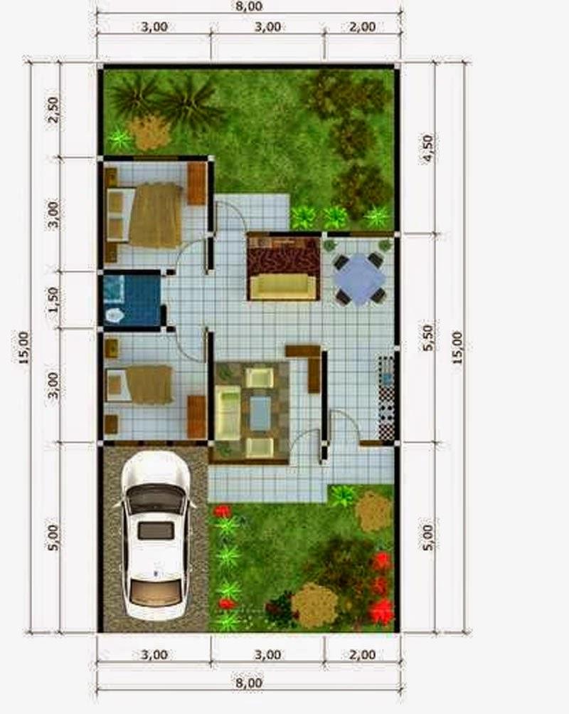 contoh denah desain rumah minimalis type 54