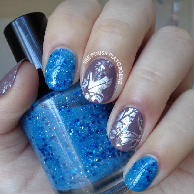 Blue Glitter and Taupe with Holo Leaves Nail Foil Nail Art