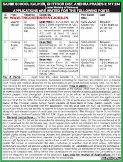Applications are invited for Quarter Master, Nursing Asst and Driver Posts in Kalikiri Sainik School