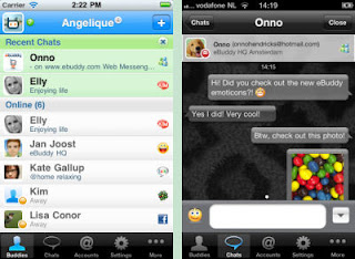 eBuddy Pro Messenger Client App Interface, a IM App for iOS Devices