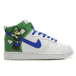 Luigi Bros Nikes / Luigi Nike Dunk Super Mario Shoes High White Green Blue