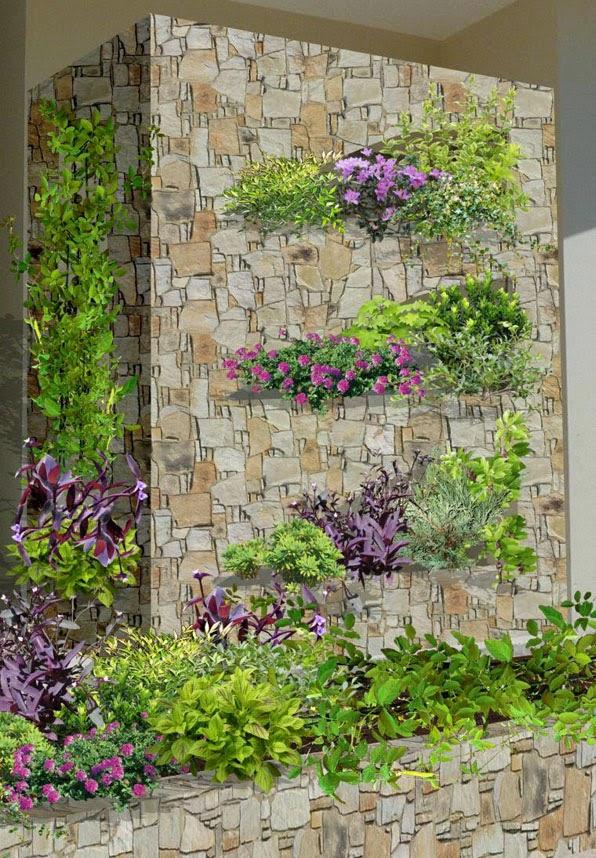 diseño 3d de jardines contemporaneos Playa del Carmen - mampara pared con arreglos de plantas