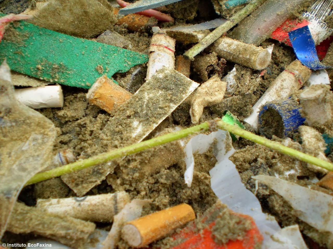 Microlixo coletado nas praias de Santos por voluntários do Instituto EcoFaxina. Crédito: Instituto EcoFaxina
