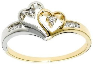 XPY 14k Yellow Gold Fleur-de-Lis Diamond Ring (.03 ct, I-J Color, I2 Clarity), Size 7