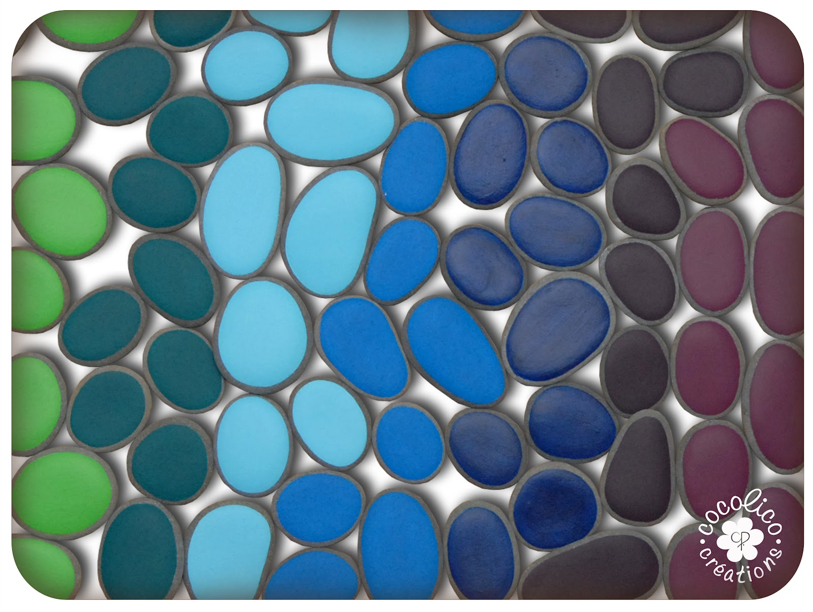 cocolico creations harmonie de couleurs sur galets tons froids. Black Bedroom Furniture Sets. Home Design Ideas