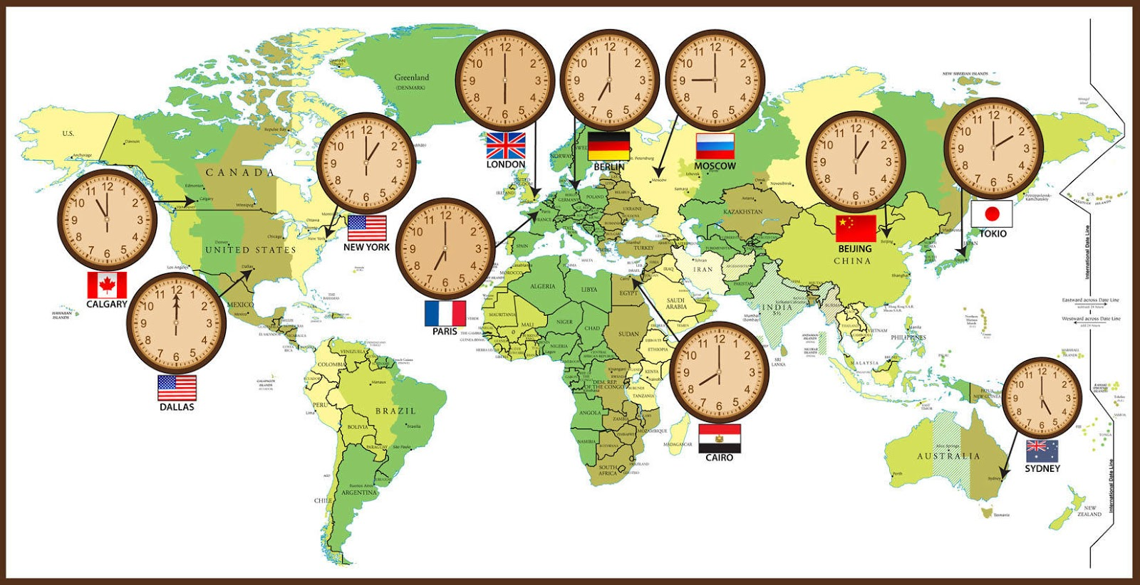 LUV GO World Time Zones - Us time zone map with times