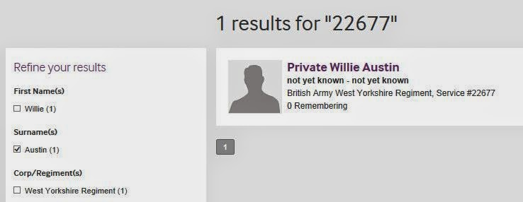 The same search results screen but now showing only one result for number 22677 our man Willie Austin.