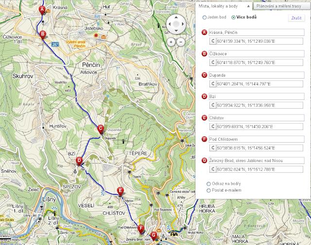 Trasa výletu z Krásné přes Čížkovice, Dupandu, Bzí, Chlístov do Železného Brodu - mapa
