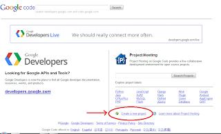 langkah awal membuat file hosting google code